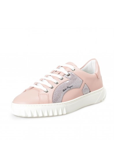 "Salvatore Ferragamo Women's ""Mollia"" Pink Leather Fashion Sneakers Shoes"