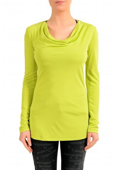 Versace Jeans Women's Green Mock Neck Long Sleeve Top