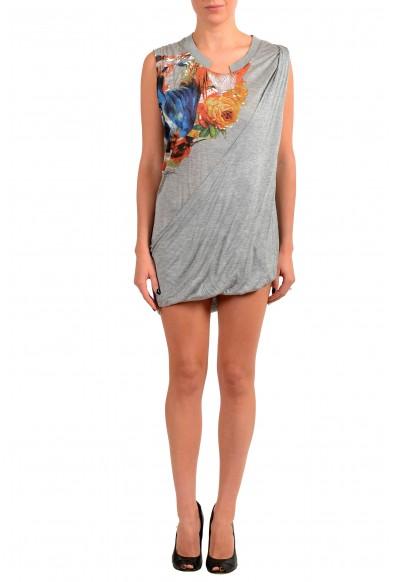 Just Cavalli Women's Gray Floral Print Tunic Mini Dress