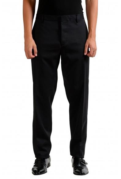 Dsquared2 Men's Black Wool Stretch Flat Front Dress Pants