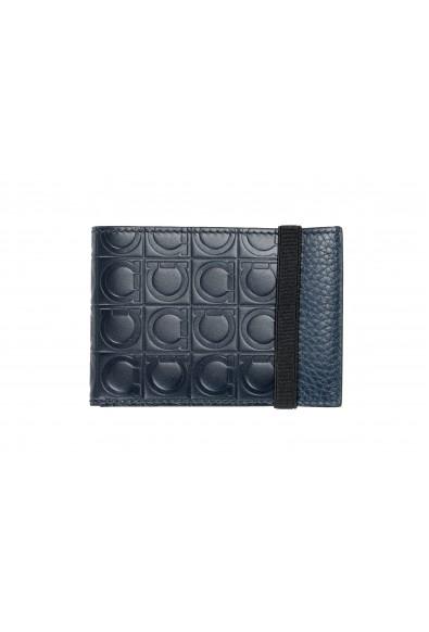 Salvatore Ferragamo Men's 100% Textured Leather Blue Logo Print Bifold Wallet
