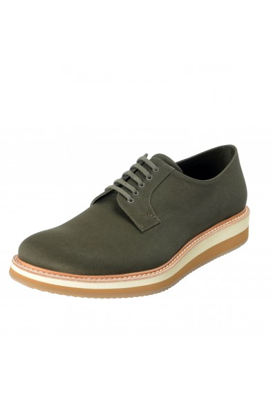 Prada Men's Olive Green Canvas Leather Lace Up Casual Oxfords Shoes