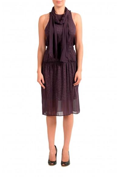 Just Cavalli Women's Purple Sleeveless A-Line Dress With Scarf