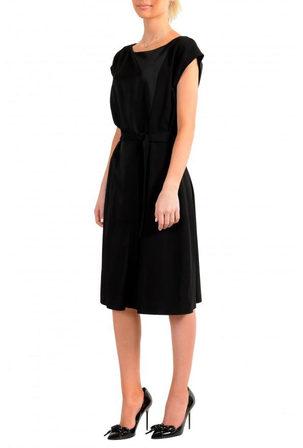 "Hugo Boss Women's ""Drapena"" Black Belted Sleeveless Dress: Picture 2"