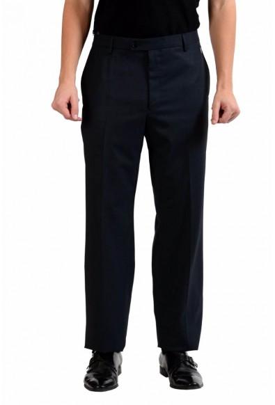 Versace Collection Men's Off Black 100% Wool Flat Front Dress Pants