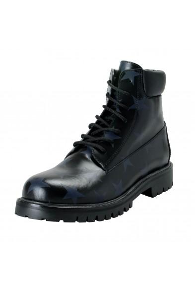 Valentino Garavani Women's Black Star Print Leather Ankle Boots Shoes