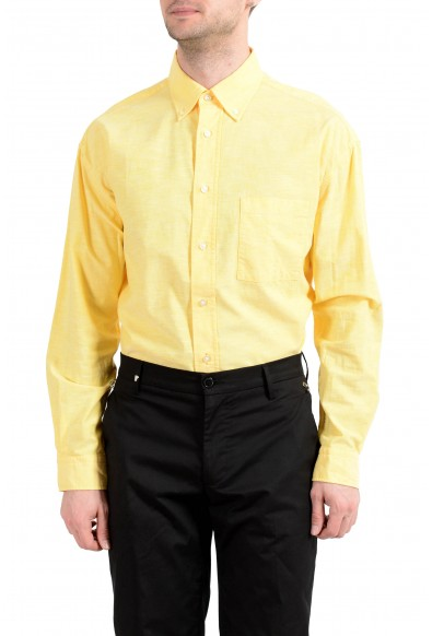 """Hugo Boss """"Leight"""" Men's Yellow Relaxed Long Sleeve Casual Shirt : Picture 2"""