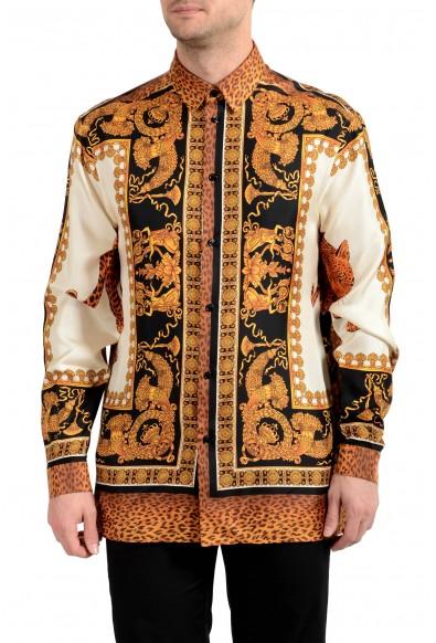Versace Men's 100% Silk Barocco Print Long Sleeve Dress Shirt