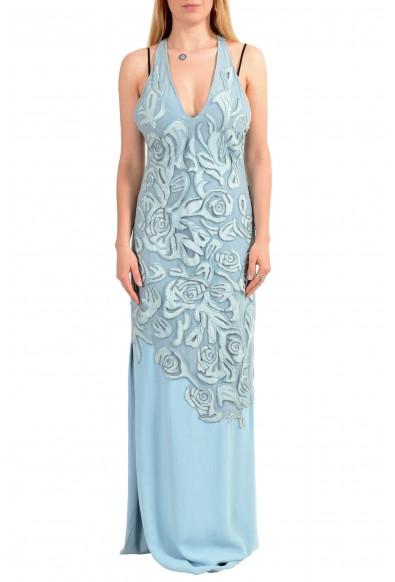 Versace Women's Blue Silk Leather Open Back Embellished Evening Dress