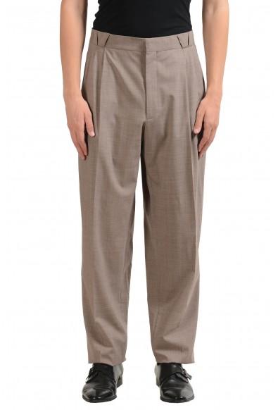 Versace Men's Beige Wool Pleated Dress Pants