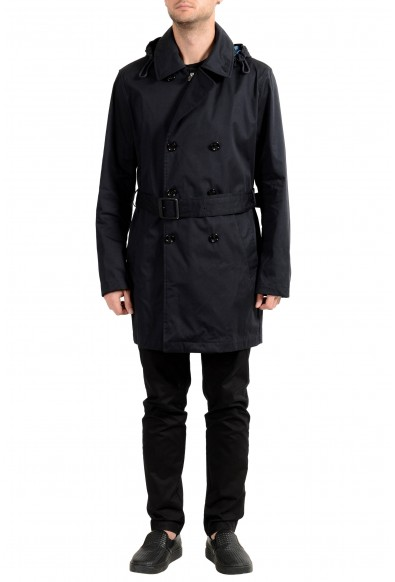 """Hugo Boss Men's """"Captus1"""" Blue Hooded Trench Coat"""