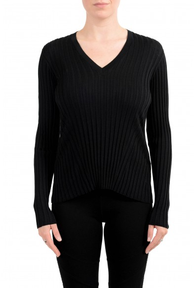 Versace Women's Black 100% Wool Stretch V-Neck Sweater
