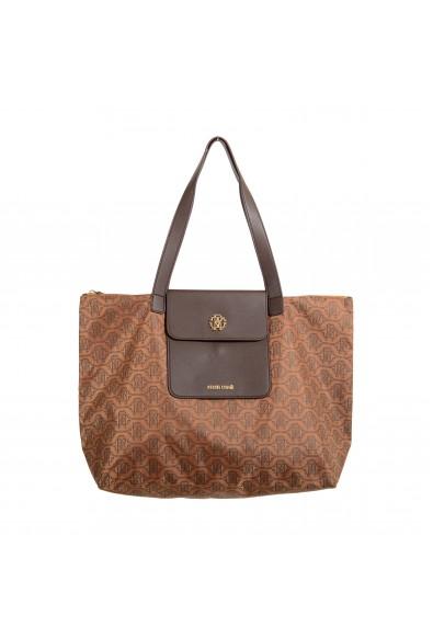 Roberto Cavalli Women's Brown Leather Trimmed Shoulder Handbag Tote Bag