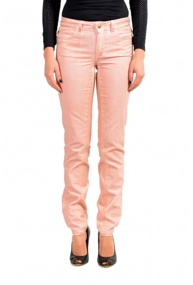 Just Cavalli Women's Pink Corduroy Coated Skinny Leg Jeans