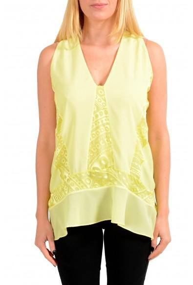 Just Cavalli Women's Yellow Sleeveless Deep V-Neck Blouse Top