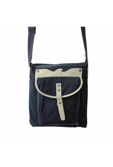 Armani Jeans Unisex Blue Leather Trimmed Cross Body Messenger Bag: Picture 2