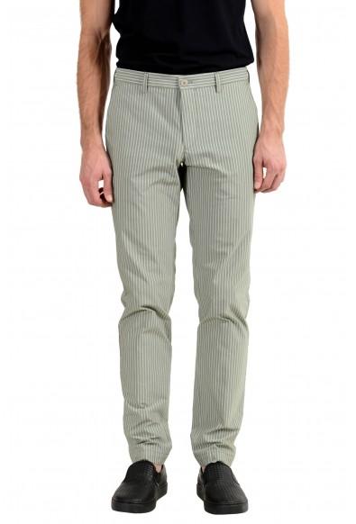 "Hugo Boss ""Stanino17-W"" Men's Stretch Green Striped Casual Pants"