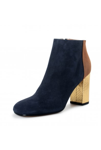 Marni Women's Blue Suede Leather Heeled Ankle Boots Shoes