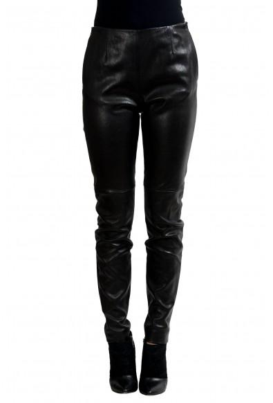 Maison Margiela 1 100% Lamb Leather Black Women's Casual Pants