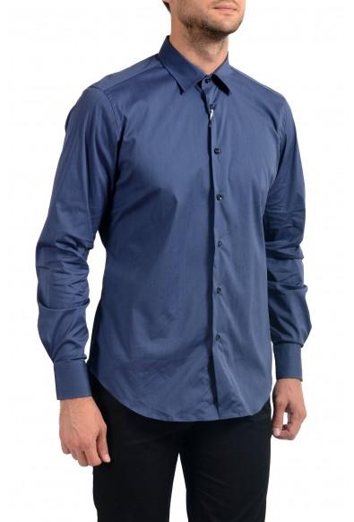 Malo Men's Dark Blue Stretch Long Sleeve Dress Shirt