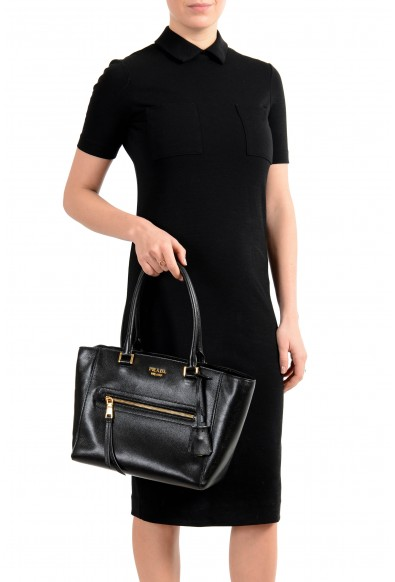 Prada Women's Black Textured Leather Shoulder Handbag Bag: Picture 2