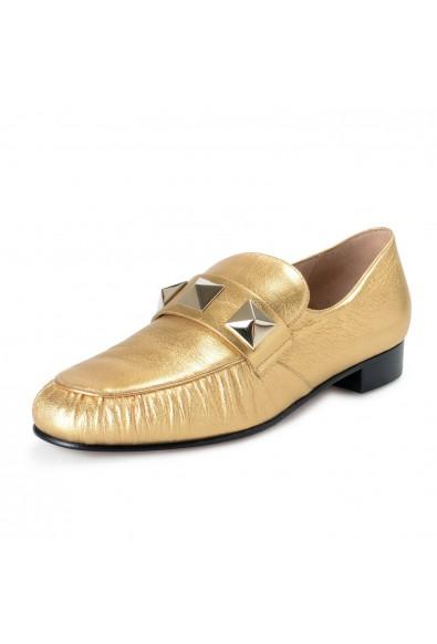 Valentino Garavani Women's Gold Leather Loafers Slip On Flats Shoes
