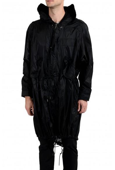 Burberry Men's Black Full Zip Hooded Adjustable Windbreaker Coat