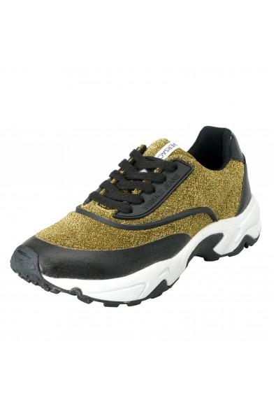 Versace Jeans Women's Gold & Black Mesh Fashion Sneakers Shoes