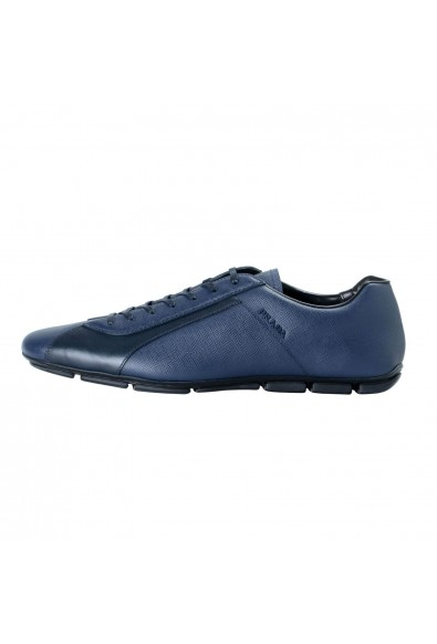 Prada Men's Leather Navy Blue Lace Up Fashion Sneakers Shoes: Picture 2