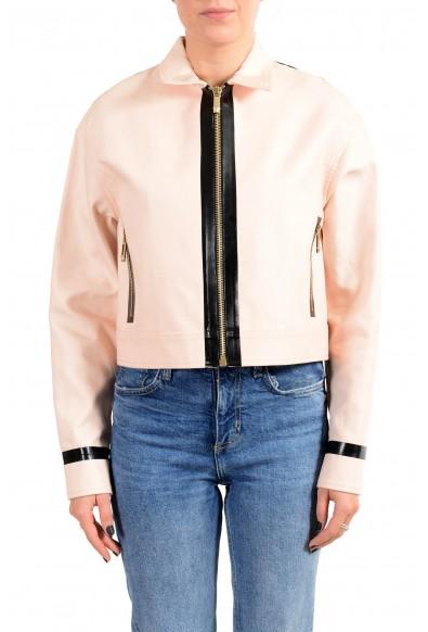 Versace Women's Pink Full Zip Denim Jacket