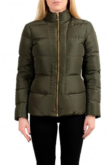 Versace Collection Women's Dark Green Down Full Zip Parka Jacket