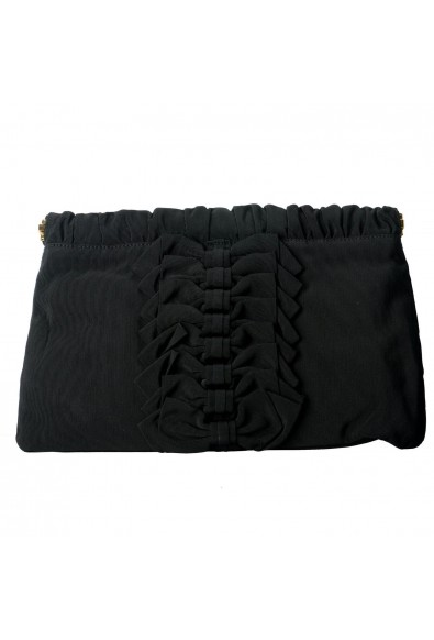 Red Valentino Women's Black Canvas Bows Decorated Clutch Bag