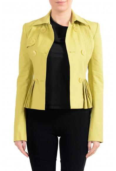 John Galliano Women's Green Double Breasted Belted Blazer Jacket