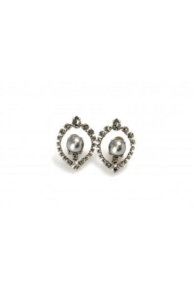 Miu Miu 'Classic' Crystal & Faux Gray Pearl Earrings