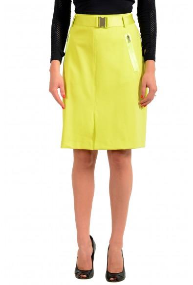 """Hugo Boss Women's """"Ralinas"""" Lime Green Belted A-Line Skirt"""
