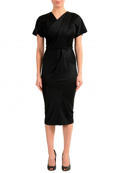 Just Cavalli Black Short Sleeve Women's Bodycon Stretch Dress