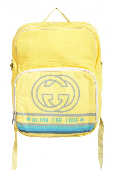 """Gucci Men's Yellow """"Blind for love"""" Canvas Backpack"""