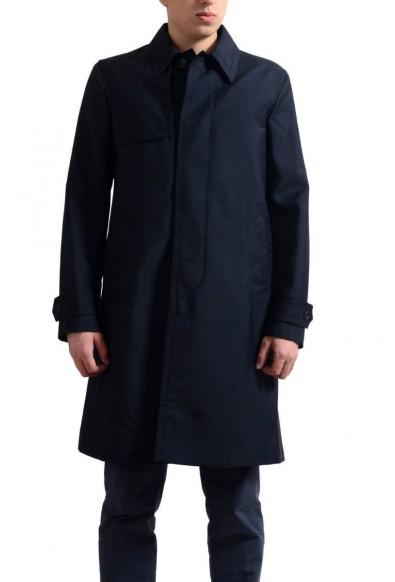 Prada Men's Navy Mohair Wool Button Down Trench Coat