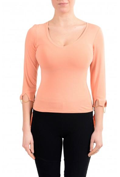 Roberto Cavalli Women's Orange V-Neck 3/4 Sleeve Stretch Blouse Top