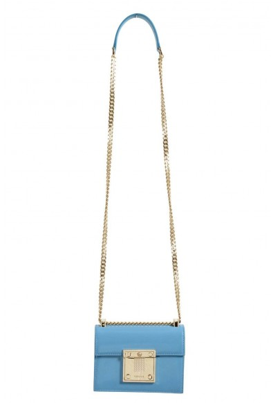 Versace 100% Leather Blue Chain Strap Women's Crossbody Shoulder Bag