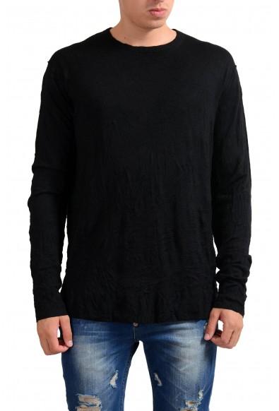 Exte Men's Black 100% Wool Crewneck Light Sweater