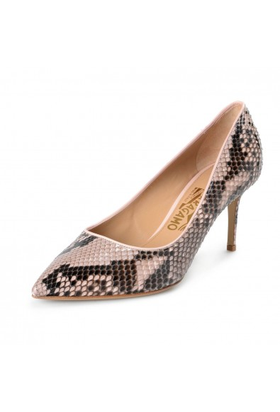 "Salvatore Ferragamo Women's ""Fiore 70"" Pink Python Skin Classic Pumps Shoes"