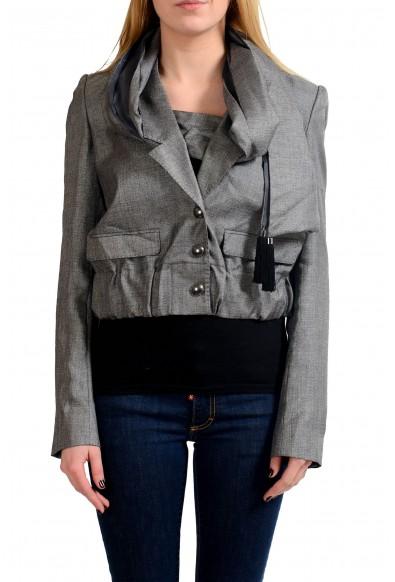 Viktor & Rolf Wool Silk Gray Scarf Decorated Women's Basic Jacket