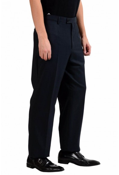 Versace Collection Men's Off Black 100% Wool Flat Front Dress Pants: Picture 2