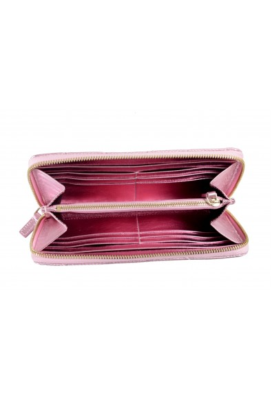 Versace Women's Sparkle Pink 100% Leather Medusa Embellished Zip Around Wallet: Picture 2