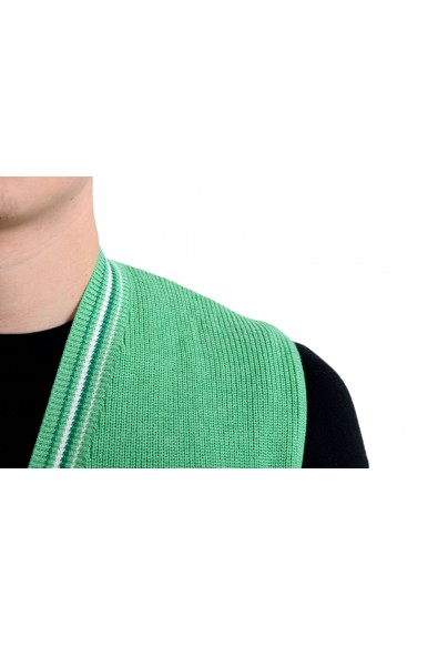 Malo Men's Green Silk Cashmere Button Up Knitted Vest: Picture 2