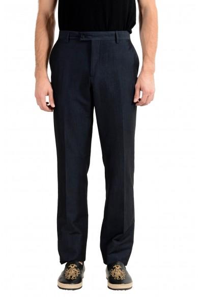 John Varvatos Men's Wool Linen Navy Blue Dress Pants