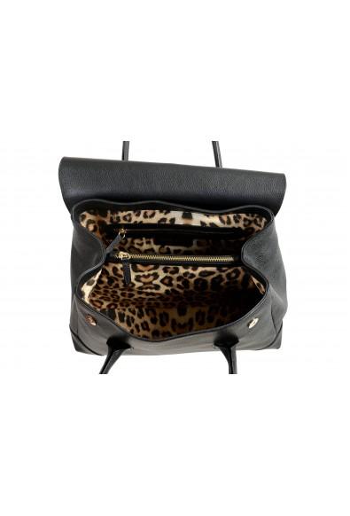 Roberto Cavalli Women's Black Textured Leather Shoulder Handbag Satchel Bag: Picture 2