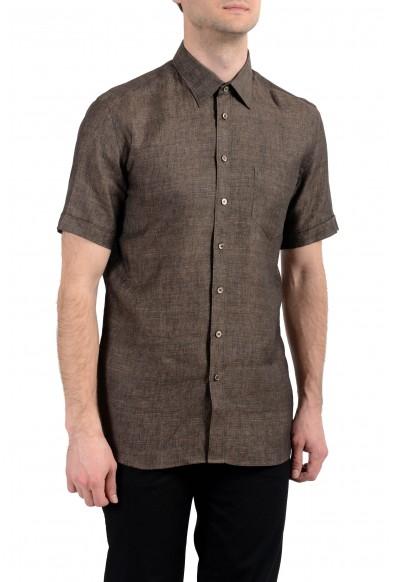 Malo Men's Brown 100% Linen Short Sleeve Button Down Dress Shirt: Picture 2