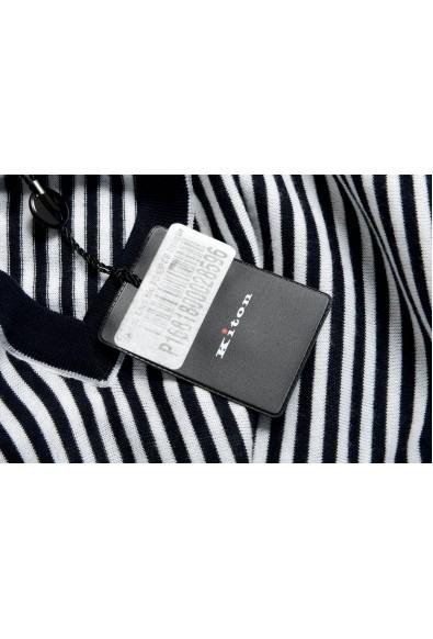 Kiton Men's Black & White Striped V-Neck Pullover Sweater: Picture 2